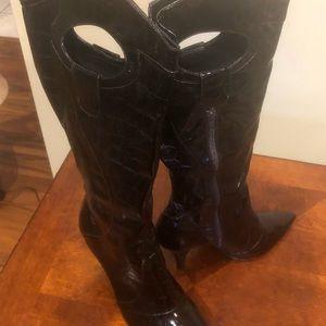 J.Renee Camira Heeled Boots Brown - Size 13 -Knee